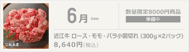 6月 近江牛 ロース・モモ・バラ小間切れ(350g×2パック)